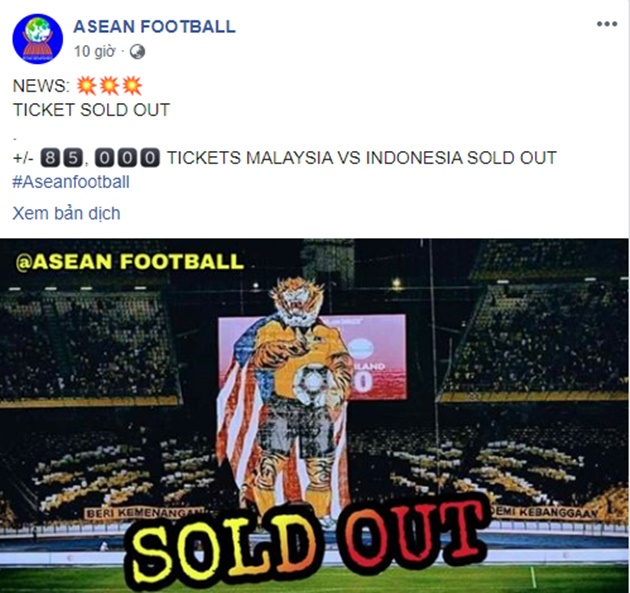 85K TICKETS MALAYSIA VS INDONESIA SOLD OUT - Bóng Đá