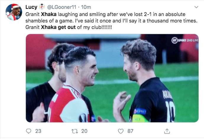 Granit Xhaka's reaction after 2-1 defeat v Eintracht Frankfurt angers Arsenal fans - Bóng Đá