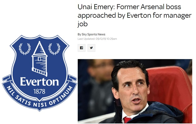 Former Arsenal boss Unai Emery has been approached about the Everton job, Sky Sports News understands. - Bóng Đá