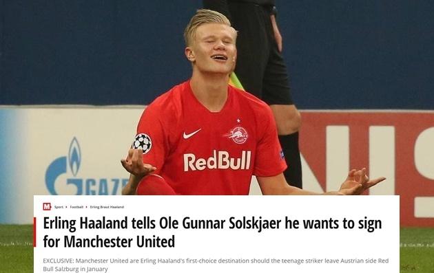 Erling Haaland tells Ole Gunnar Solskjaer he wants to sign for Manchester United - Bóng Đá
