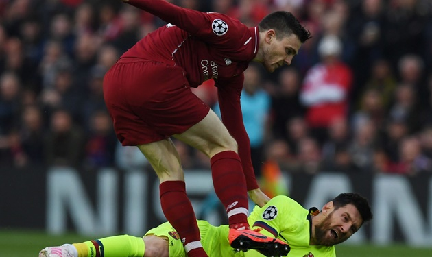 Remember Andy Robertson's little shove on Lionel Messi's head at Anfield? - Bóng Đá