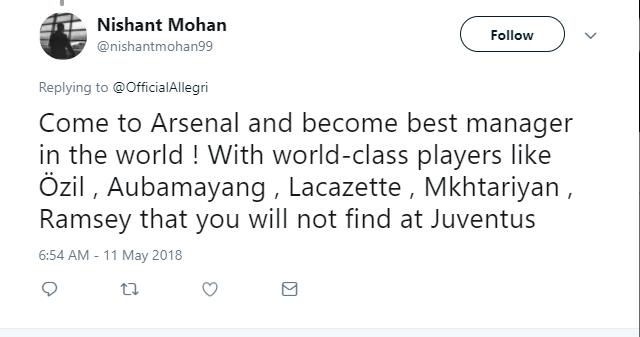 Fan Arsenal mời gọi Allegri về ghế nóng - Bóng Đá