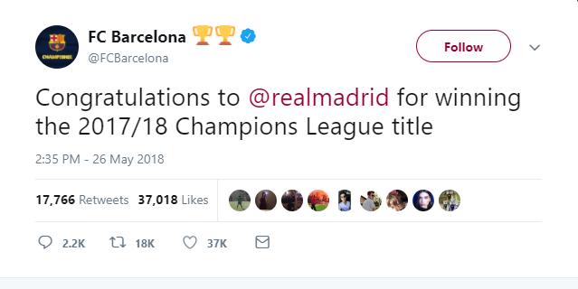 Real Madrid vô địch, đại kình địch lên tiếng chúc mừng - Bóng Đá