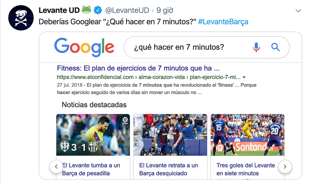 Levante joke at Barcelona's expense with Google search - Bóng Đá