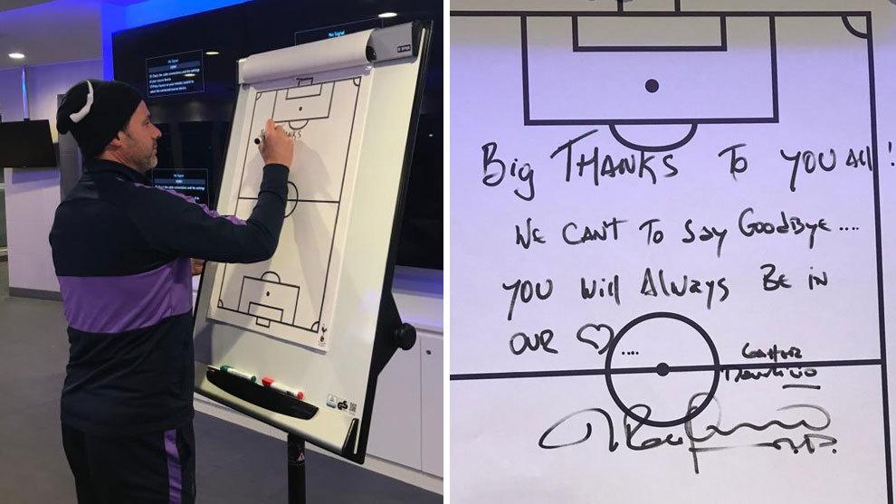 The goodbye message Pochettino wrote on Tottenham's tactics board - Bóng Đá