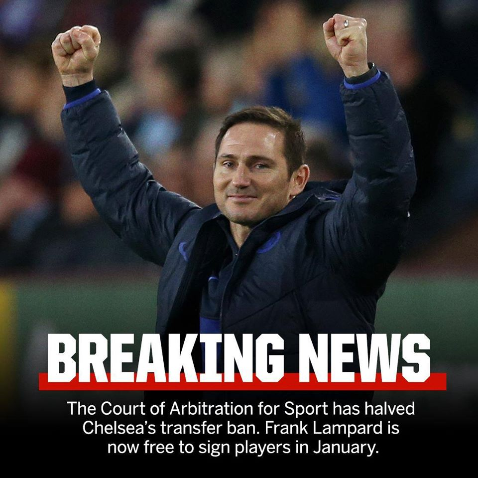 BREAKING: Chelsea Football Club are free to sign players again in January. - Bóng Đá
