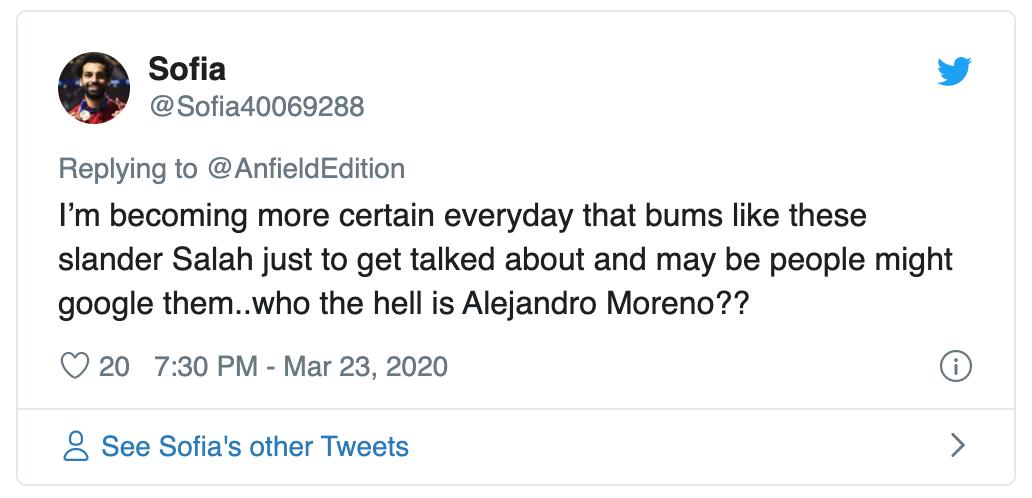 "LIVERPOOL FANS SLAM ALEJANDRO MORENO FOR SAYING REDS ""CAN DO BETTER THAN MOHAMED SALAH"" - Bóng Đá"