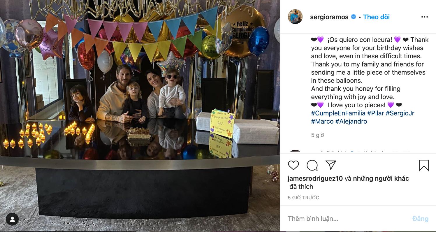 How Sergio Ramos spent his 34th birthday at home - Bóng Đá