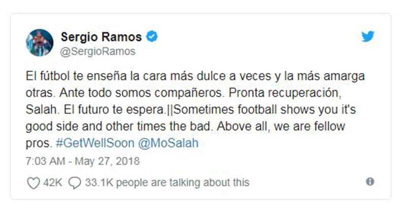 Làm Salah chấn thương, Sergio Ramos gửi thông điệp cực bất ngờ trên mạng xã hội - Bóng Đá