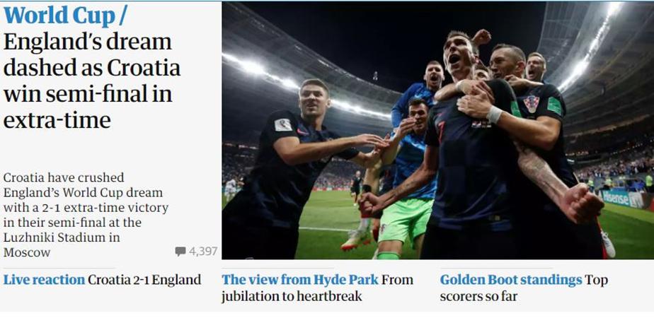 Truyền thông Anh: 'Croatia làm tan vỡ trái tim sư tử dũng cảm' - Bóng Đá