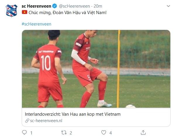 Việt Nam hạ gục UAE, SC Heerenveen nói 1 điều về Văn Hậu - Bóng Đá