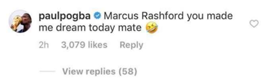Paul Pogba left a comment on Marcus Rashford's Instagram after Bournemouth win - Bóng Đá