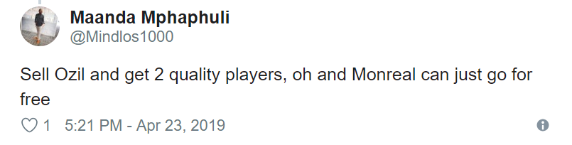 Arsenal fans take to Twitter to call for Ozil to be sold - Bóng Đá