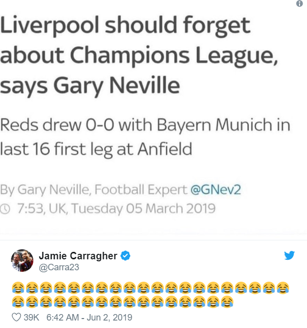 Jamie Carragher can't resist dig at Gary Neville after Liverpool's Champions League glory - Bóng Đá