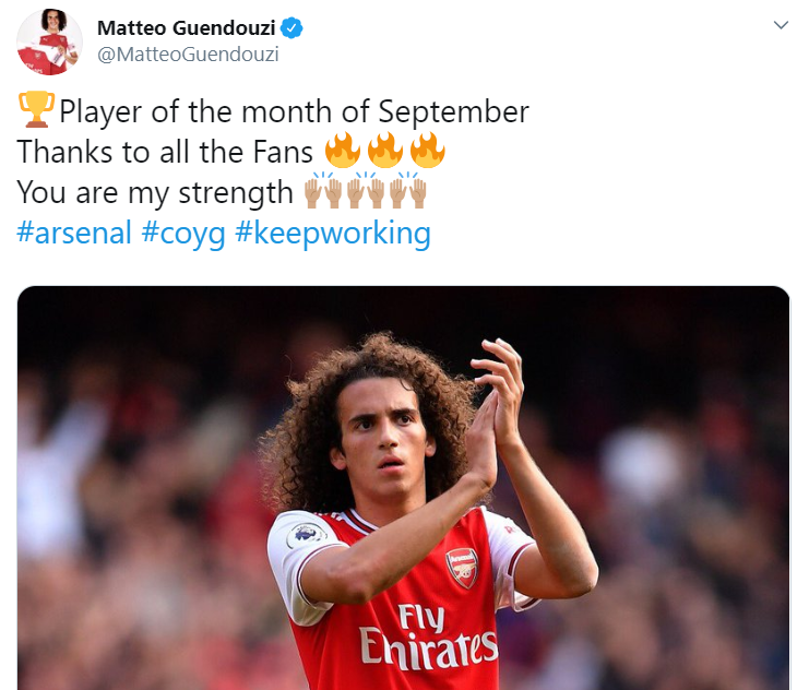 Matteo Guendouzi sends emotional message to Arsenal fans after picking up club accolade - Bóng Đá