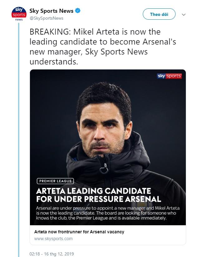 Sky Sports xác nhận thêm về thương vụ Arsenal - Arteta - Bóng Đá