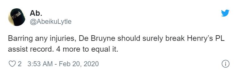 Fan Arsenal lo lắng vì KDB sắp phá kỷ lục kiến tạo của Henry - Bóng Đá