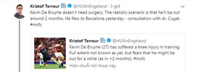 Cập nhật tình hình chấn thương De Bruyne: Tin vui cho người hâm mộ City? - Bóng Đá