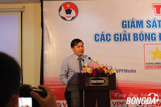 Tổng giám đốc VPF - Cao Văn Chóng phát biểu tại lớp tập huấn: Ảnh: Văn Cao.