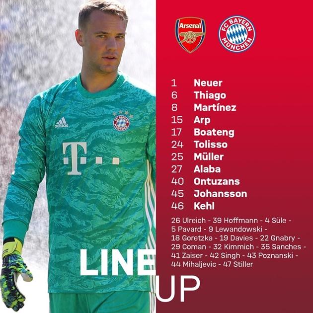 TRỰC TIẾP Arsenal - Bayern Munich: Ozil đá chính; Bayern chưa bung hết bài - Bóng Đá