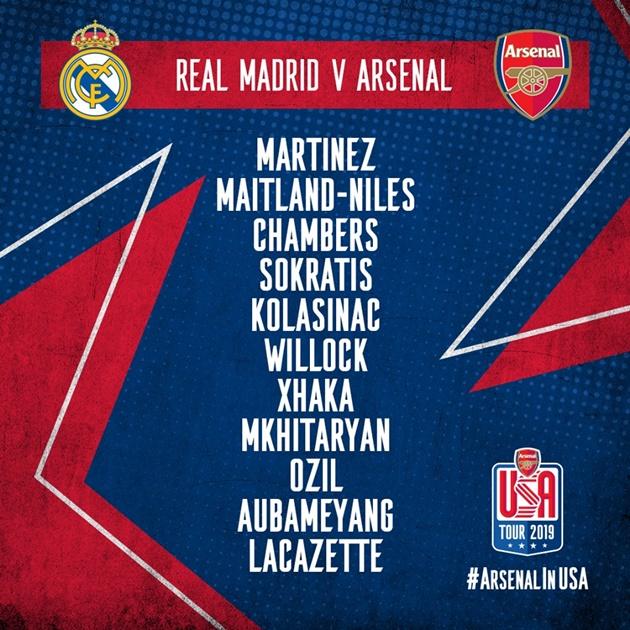 TRỰC TIẾP Arsenal - Real Madrid: Đội hình ra sân - Bóng Đá