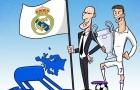 Biếm họa: Châu Âu quỳ gối trước Zidane và Ronaldo