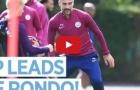 Pep Guardiola tràn đầy hưng phấn tập luyện chung cùng Man City