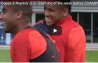 Mbappe và Neymar quấn lấy nhau trên sân tập