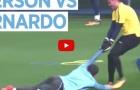 Ederson kéo lê Bernardo Silva trong buổi tập của Man City