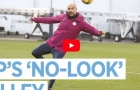 Pep Guardiola trổ tuyệt kĩ volley không cần nhìn