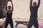 Rio Ferdinand hăng hái giúp bạn gái đẩy tạ