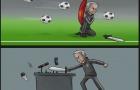 Hí họa Mourinho chỉ biết tấn công ở phòng họp báo