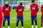 Messi cúi gằm mặt, mặc niệm Maradona trong buổi tập của Barca