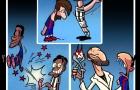 Biếm họa Chiellini lấy kìm nhổ răng thỏ Suarez