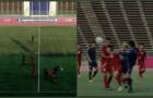 SỐC! Tung cước hạ gục Hữu Thắng, cầu thủ Thái Lan thoát thẻ đỏ khó tin