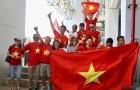Cờ đỏ sao vàng U23 Việt Nam tung bay trên sân Wibawa Mukti tại ASIAD 2018