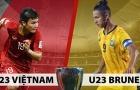 TRỰC TIẾP U23 Việt Nam 0-0 U23 Brunei (H1): Đức Chinh - Thanh Bình đá chính, Quang Hải dự bị