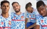 Pogba, Bruno, Rashford tạo dáng bên kiểu áo 'retro' hoài cổ của Man Utd