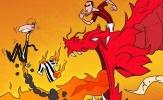 Biếm họa: Bonucci cưỡi rồng đốt mông Allegri
