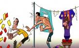 Biếm họa: Ronaldo nhận mưa thẻ vì bắt chước Messi