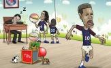 Biếm họa: Neymar khóc chạy vì bị Cavani giành đồ chơi