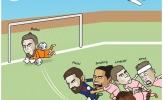 Biếm họa: 'Thánh Tôn' cóng trước 'Chúa'; Van Dijk nốc ao Messi