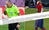 Hành động đặc biệt của trọng tài sau khi rút thẻ vàng cho Messi