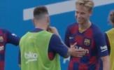 Frenkie de Jong hớn hở trong lần đầu chạm mặt Messi