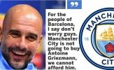 Tuyên bố của Guardiola về Griezmann là 'đỉnh cao Man City'