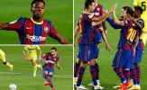 Hàng công Barca trong trận đại thắng Villarreal: Fati hay nhất