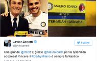 Javier Zanetti chúc mừng Inter sau thắng lợi trước Milan