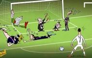 Biếm họa cực độc về khả năng sút phạt của Cristiano Ronaldo