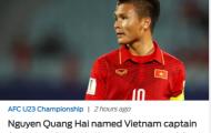 Báo châu Á nói điều thật lòng về băng đội trưởng của Quang Hải tại U23 Việt Nam