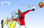 Hí họa Pogba chơi bóng chuyền, đấu vật ở trận gặp Liverpool